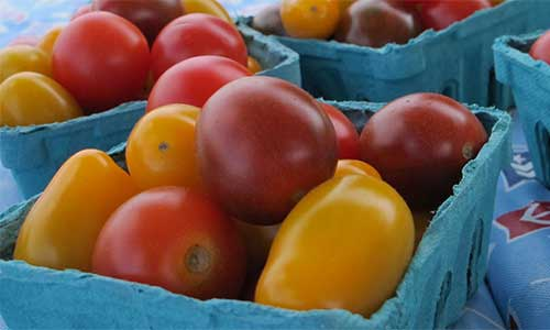 Upclose Picture of Pints of Cherry Tomatoes