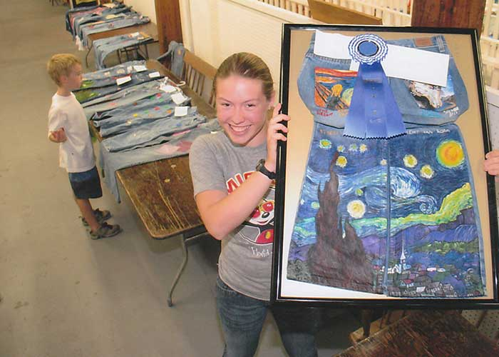 Girl with Van Gogh Starry Night Painted Jeans | Arts & Crafts Exhibits